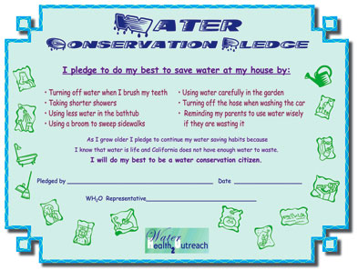 WH2O's kid's pledge for conserving water
